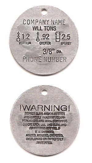 Wire Rope Sling Tags - Aluminum - National Band and Tag Company