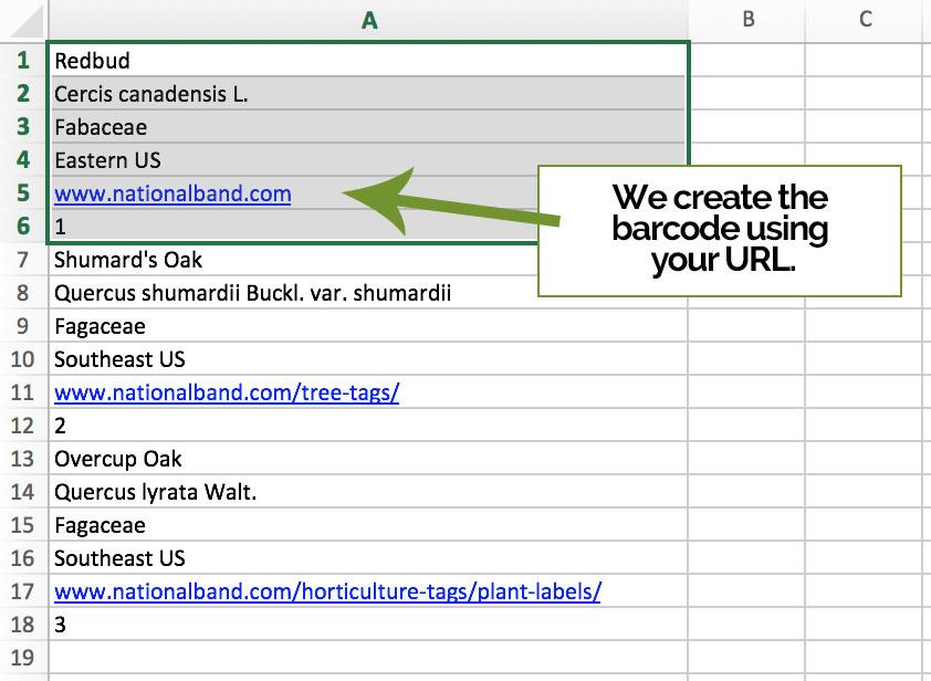 bar code tag info