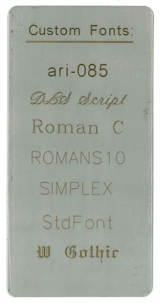 custom fonts on stainless steel