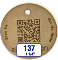 "1-1/4"" round tag with barcode"
