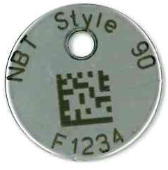 text and barcode on stainless steel tag