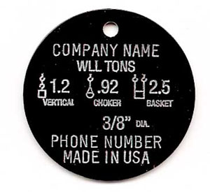 Wire Rope Tags - Chain Sling Tags - Inspection Tags - National ...