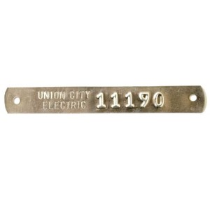embossed asset tag