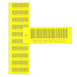 yellow snap-off asset tags
