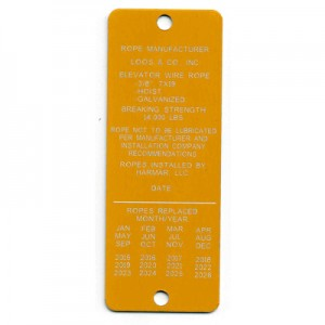 elevator inspection tag