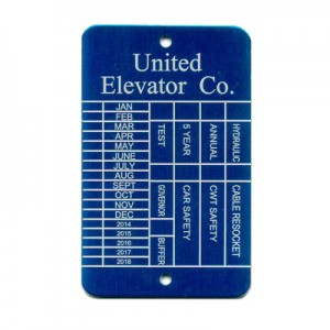 blue elevator tag