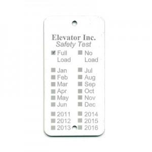 white elevator tag