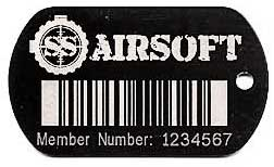 tag with a linear barcode and logo
