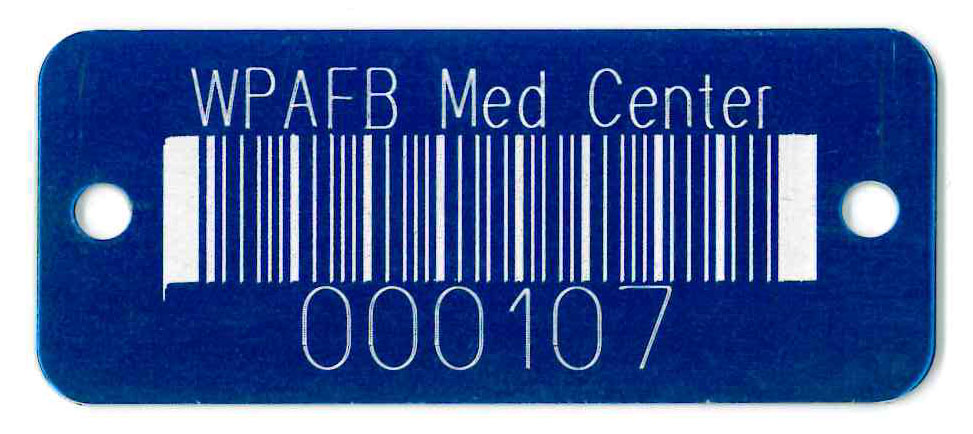 text and barcode on colored aluminum tag