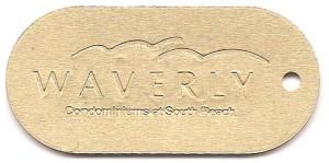 stamped logo tag