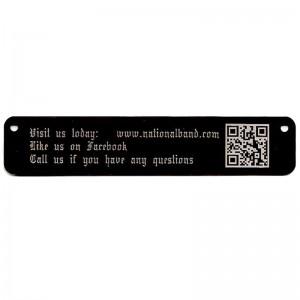 qr code on long black tag