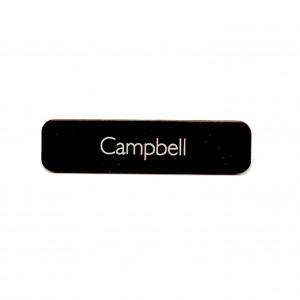 black laser engraved tag