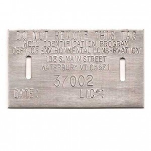 aluminum well permit tag