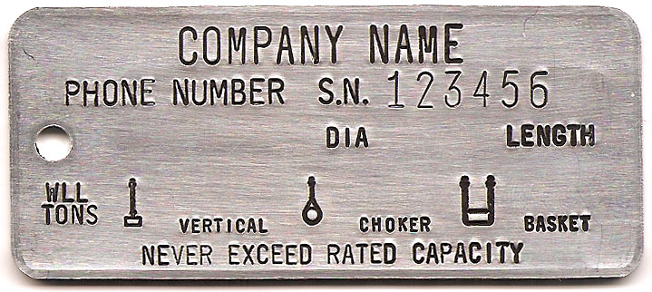 Wire Rope Sling Tags - National Band and Tag Company