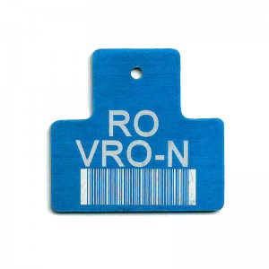 t shape tag with engraved barcode