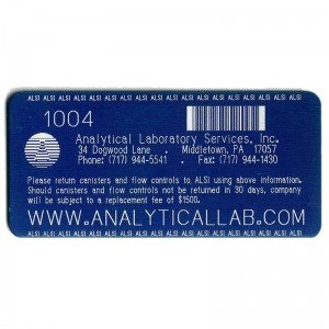 aluminum tag with logo and barcode