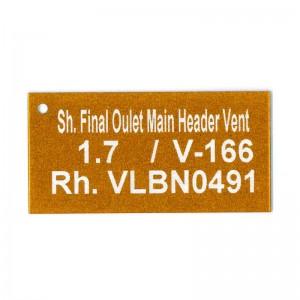 orange laser etched tag