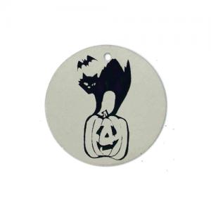 cat and jack-o-lantern tag