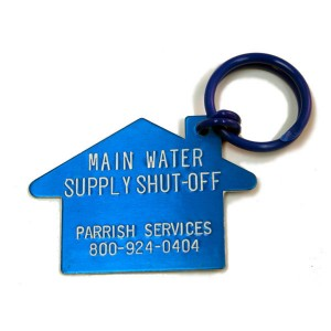 main water shut off plumber tag