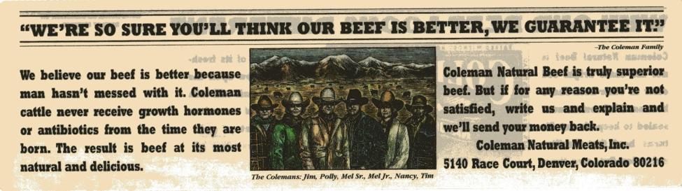 Coleman Beef Label