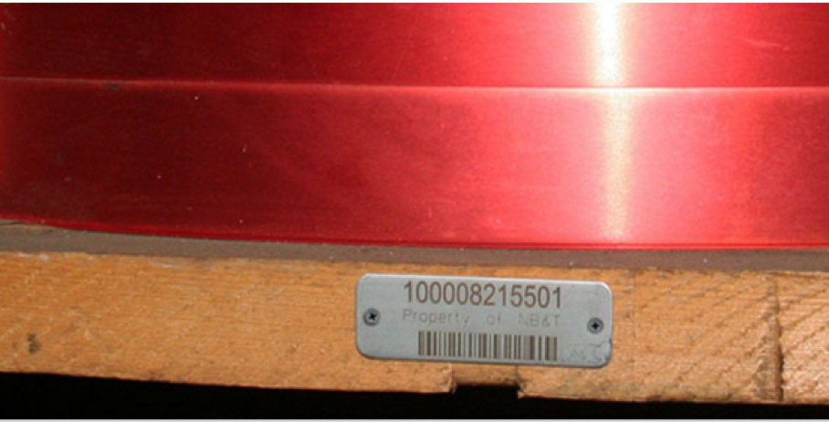 stainless steel barcoded asset tag