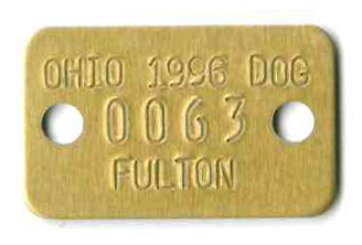 """7/8″ x1 7/16"""" rectangle tag. Gold aluminum with two holes"""