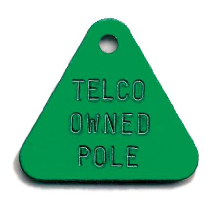 small triangle tag. telephone pole tag.