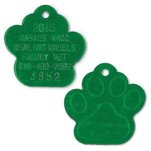 large paw print tags