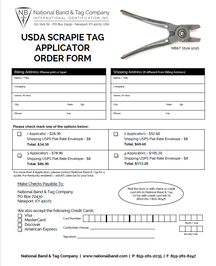 Scrapie Tags and Applicators - National Band and Tag Company
