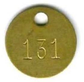 round brass tag numbered