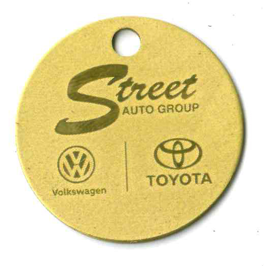 text and logo on brass tag