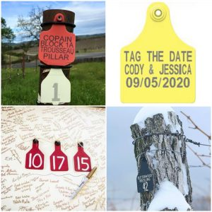 livestock cow ear tags for weddings and save the dates