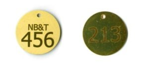round brass tags with text and number laser engraved