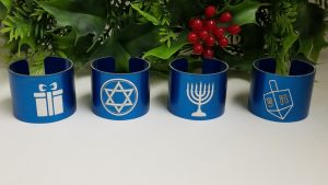 Hanukkah themed blue napkin rings