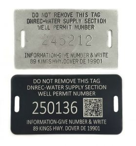 Well permit tags with a QR code