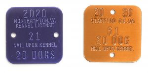 kennel license tags that go on the cage